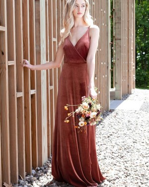 A-line Spaghetti Straps Velvet Simple Bridesmaid Dress BD2154