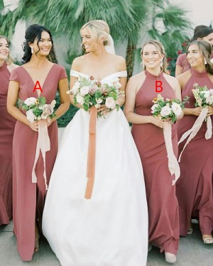 A-line V-neck Satin Simple Bridesmaid Dress with Middle Slit BD2155