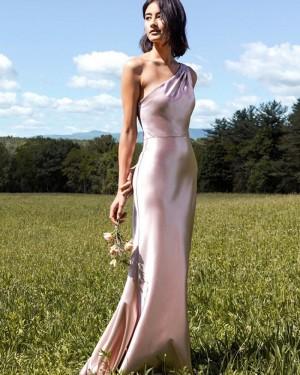 Light Pink One Shoulder Velvet Mermaid Bridesmaid Dress BD2156