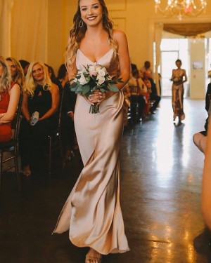 Spaghetti Straps Champagne Simple Bridesmaid Dress with Middle Slit BD2157