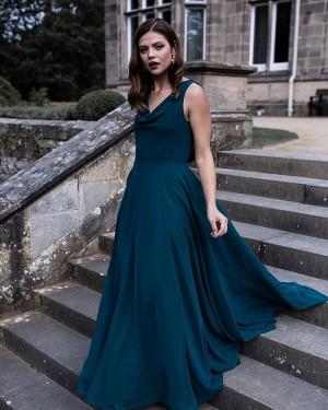 Cowl Neck Chiffon A-line Simple Bridesmaid Dress BD2159