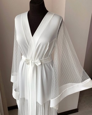 Satin Sheer White Polka Dot Bridal Robe with Long Sleeves BR002