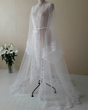 White V-neck Tulle Long Sleeved Bridal Boudoir Robe with 3D Flowers BR005