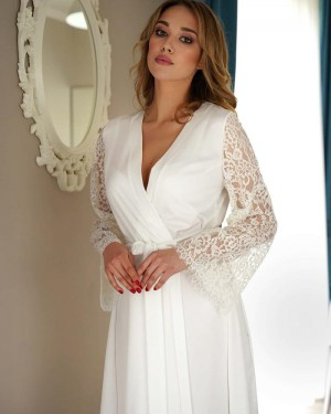 White V-neck Satin Long Bridal Robe with Lace Sleeves BR008