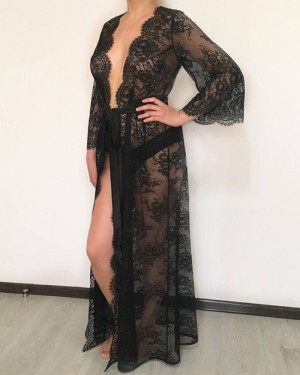 Black Lace V-neck Sheath Bridal Robe with Long Sleeves BR010