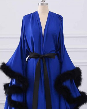 Satin V-neck Blue Feather Bridal Boudoir Robe with Bell Sleeves BR011