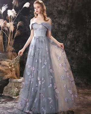 Off the Shoulder A-line Grey Lace Evening Dress ED21554