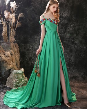 Green Embroidery Ruched Satin Cold Shoulder Evening Dress with Side Slit ED23556
