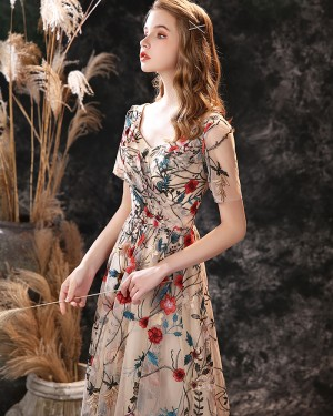 V-neck Tea Length A-line Floral Lace Evening Dress with Short Sleeves ED24559