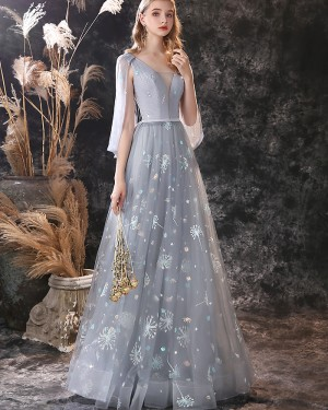 Grey V-neck Lace Pleated Evening Dress with Cape Sleeves ED26553