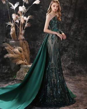 Sequin Green One Shoulder Mermaid Evening Dress with Detached Train ED29558