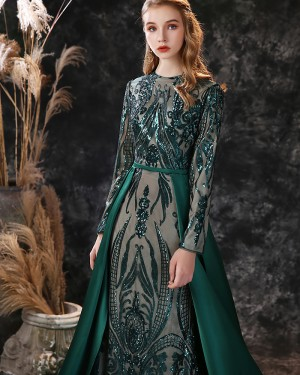 Green Sequin Jewel Mermaid Long Sleeve Evening Dress with Detached Train ED31557