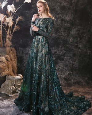 Green Sequin Lace Bateau Evening Dress with Long Sleeves ED38555