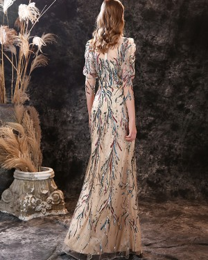 Champagne Jewel Neckline Sequin Lace Mermaid Evening Dress with 3/4 Length Sleeves ED41551