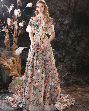 Floral A-line Jewel Neckline Lace Evening Dress with Flutter Sleeves ED45552