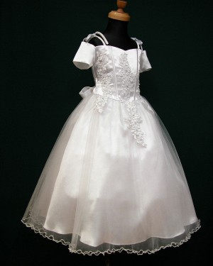 White Satin Cold Shoulder Appliqued First Holy Communion Dress with Bowknot FC0001