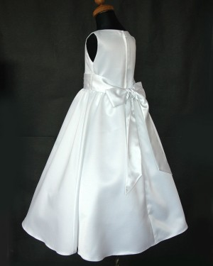 White Tea Length Jewel Satin First Holy Communion Dress with Belt FC0002