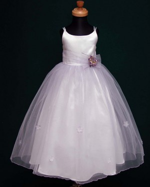 White Satin & Tulle Double Spaghetti Straps First Holy Communion Dress with Handmade Flowers FC0003