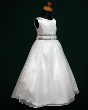 White Tulle & Satin A-line Jewel First Holy Communion Dress with Beading Belt FC0004