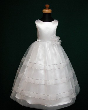 White Sparkle Tulle Jewel First Holy Communion Dress with Handmade Flower FC0005