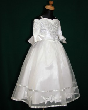 White Tea Length Tulle Cold Shoulder Appliqued First Holy Communion Dress with Half Length Sleeves FC0006