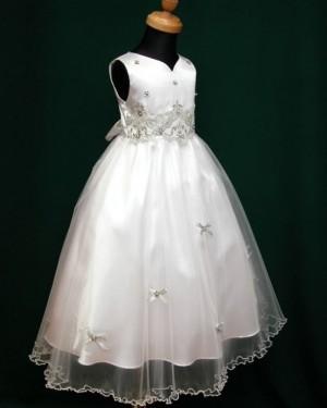 White Beading Appliqued V-neck Tulle Tea Length First Holy Communion Dress FC0007