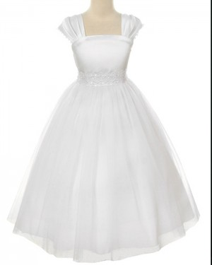 White Tulle Tea Length Square Beading First Holy Communion Dress FC0008