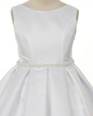 Satin Tea Length Jewel White First Holy Communion Dress with Beadings FC0009