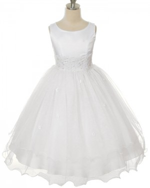Lace Appliqued Scoop Tulle White First Holy Communion Dress FC0010
