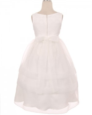 White Bodice Tulle Jewel Lace Tea Length First Holy Communion Dress FC0011
