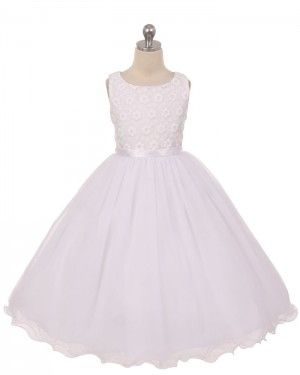 White Tulle Scoop Lace Bodice First Holy Communion Dress with Bowknot FC0012