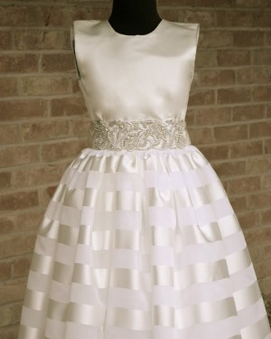 Satin Beading Appliqued High Neck First Holy Communion Dress FC0015