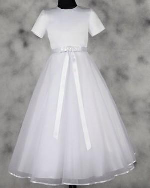 White Satin & Tulle High Neck Tea Length First Holy Communion Dress FC0016