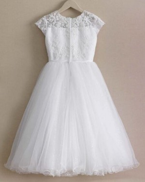 White Appliqued Bodice Jewel Girl Dress with Sparkle Skirt FC0017