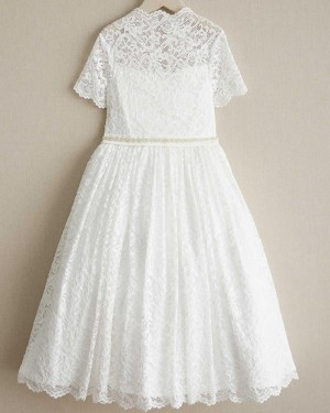 Lace White High Neck Beading Girl Dress with Short Sleeves FC0018