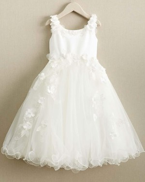 White Satin & Tulle Scoop Girl Dress with Handmade Flowers FC0019