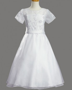 White Tulle Sheer Beading First Holy Communion Dress with Short Sleeves FC0020