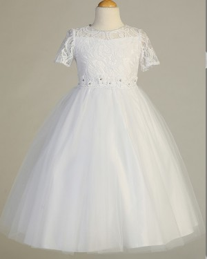 Lace Bodice High Neck Tulle Girl Dress with Handmade Flowers FC0021