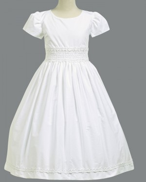White Satin Jewel Neck Appliqued First Holy Communion Dress with Short Sleeves FC0022