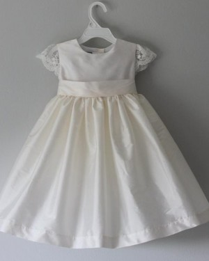 White Jewel Satin Girl Dress with Lace Cap Sleeves FC0024