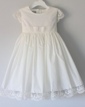 White Satin Jewel Girl Dress with Lace Appliques FC0025