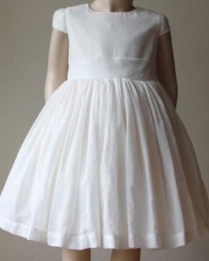 Tulle Pleated High Neck Girl Dress with Cap Sleeves FC0026