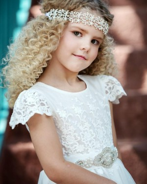 White Lace High Neck Appliqued Tulle First Holy Communion Dress with Belt FC0027