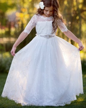 White Sheer Neck Lace First Holy Communion Dress with Beading Belt FC0028