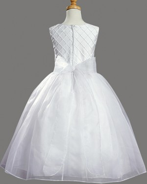 White Tulle Jewel First Holy Communion Dress with Bowknot FC0029