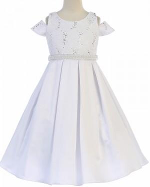 Sparkle Beading Cold Shoulder Satin First Holy Communion Dress FC0030