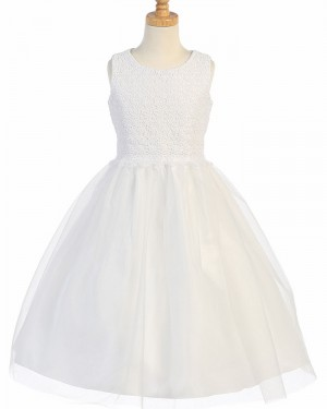 White Jewel Lace Bodice First Holy Communion Dress with Tulle Skirt FC0031