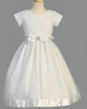White Sequin Satin Jewel First Holy Communion Dress with Short Sleeves FC0032