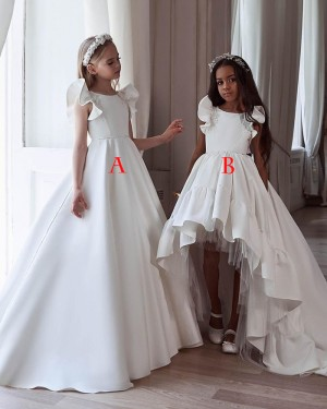 Jewel White Satin High Low Pleated Flower Girl Dress FG1003