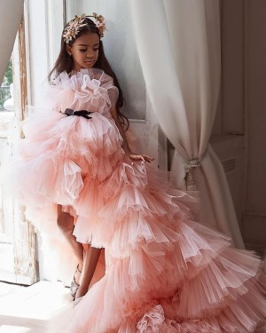 High Low Peach Pink Ruffled Pageant Dress for Girls FG1004